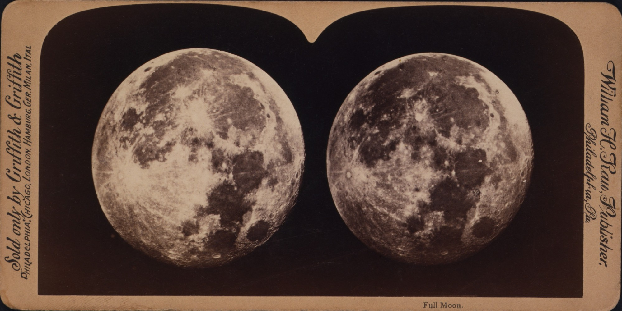 William H. Rau, Full Moon, albumen silver print mounted to stereographic card